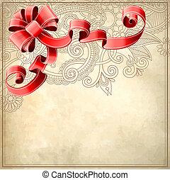 dovolená, grafické pozadí, s, červené šaty lem, a, květinový charakter, eps10