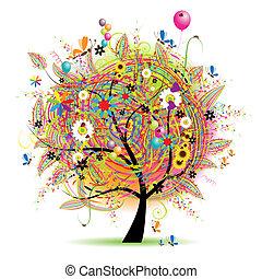 dovolená, komický, šťastný, strom, baloons