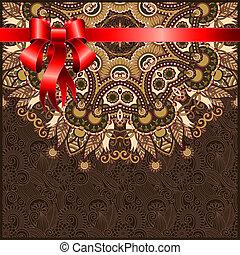 dovolená, ozdobený, květinový, grafické pozadí, s, červené šaty lem, eps10