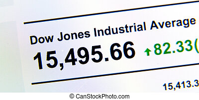 Dow Jones stock market index on a LCD screen.