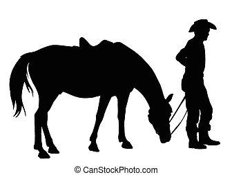 dowcip, koń, jego, sylwetka, kowboj