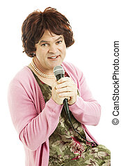 Female impersonator dressed as an unattractive middle-aged singer. Isolated on white.