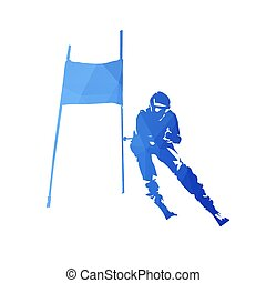 Dowhill skiing, abstract blue skier, geometric vector silhouette. Winter sport