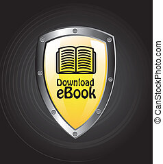 Dowload - Ebook download button over black background vector...