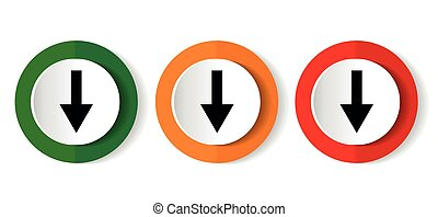 Down arrow, download icon set, colorful buttons in 3 color options for web design and mobile applications