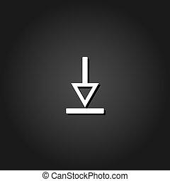 Down arrow icon flat.