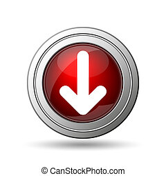 Down arrow icon. Internet button on white background.