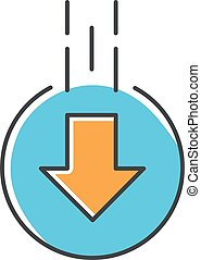 Down arrow in circle blue and orange RGB color icon. Moving arrowhead in round shape. Mobile app page browsing indicator. Website pointer. Web cursor. Scrolldown button. Isolated vector illustration