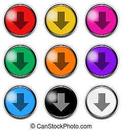 Down arrow sign button icon set isolated on white with clipping path 3d illustration