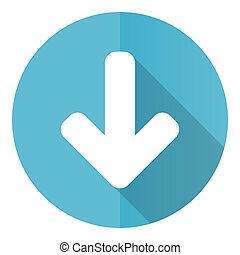 Down arrow vector icon, download flat design blue round web button isolated on white background