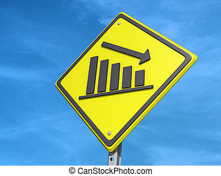 "Down Bar Graph Yield Sign - A yield road sign with ""Down Bar..."
