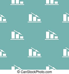Down chart pattern seamless blue