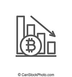 Down graph, bitcoin coin, cryptocurrency line icon.
