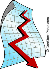 Down graph for design and business concept