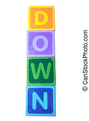 down in toy play block letters with clipping path