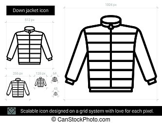 Down jacket line icon.