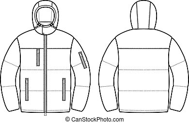 Down jacket - Vector illustration of mens winter down...