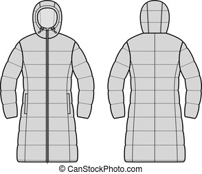 Down long coat. Front and back