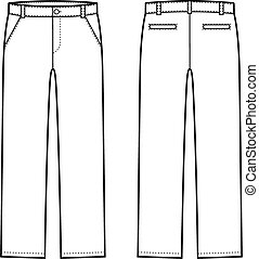 Vector illustration of mens winter down pants. Front and back views