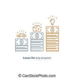 Down payment, mortgage loan, car credit, money for any purpose, budget for purchase, vector line icon