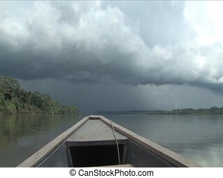 Down pour coming on the Amazon River