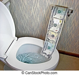 Down The Drain - Money being flushed down the drain.