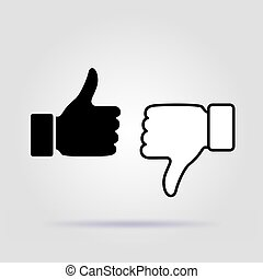 Like and dislike icon, flat design on gray background with soft shadow. Black and white