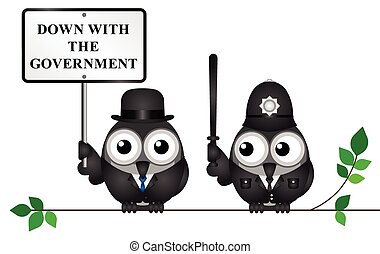 Down with the Government - Comical city gent protesting ...