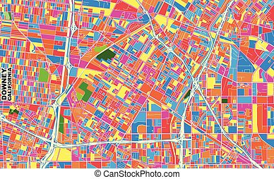Downey, California, USA, colorful vector map