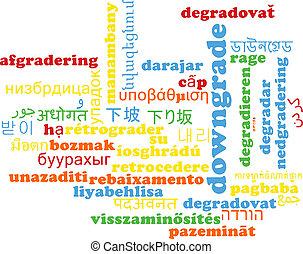 Downgrade multilanguage wordcloud background concept