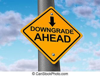 Downgrade of a company symbol - Downgrade symbol represented...