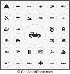 downgrade, vettore, altro, mostro, trasporto, icons., synonyms, elementi, set, aero, truck., jeep, semplice, sospensione, illustrazione