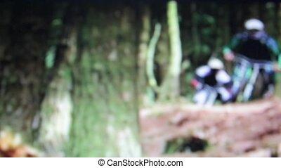 Downhill biking - out of focus Downhill mountain biking
