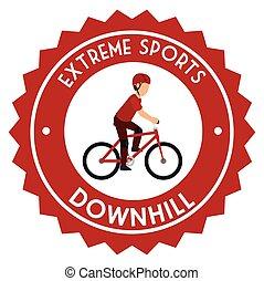 downhill extreme sport emblem