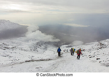 Downhill from the summit of Kilimanjaro