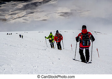 Downhill from to Elbrus mountain