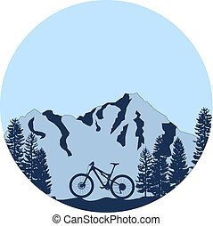 Downhill mountain bike badge with mountains background