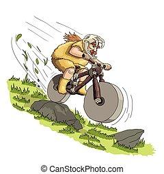 Downhill mountain biker from primal era