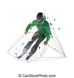 Downhill skier in green jacket, isolated low polygonal vector illuststration