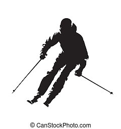 Downhill skier, isolated vector silhouette. Skiing, winter activity