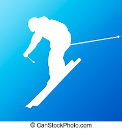 Downhill skier. Vector silhouette