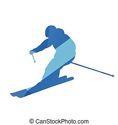 Downhill skier, vector silhouette