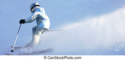 Downhill Skiing 2 - Young girl skiing downhill.