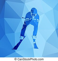 Downhill skiing, abstract geometric vector silhouette