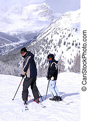 Downhill skiing - Family downhill ski vacation in snowy...