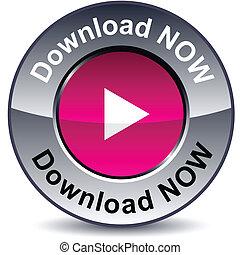 download, agora, redondo, button.