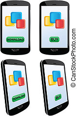 Vector illustration of application downloading and buying with modern touch screen mobile phone. Vector EPS8 file layered and grouped for easy editing