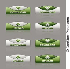Download and upload buttons - Glossy download and upload...
