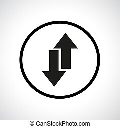 Download and upload symbol in a circle. Send and receive...