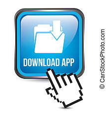 download app button over white background. vector ...